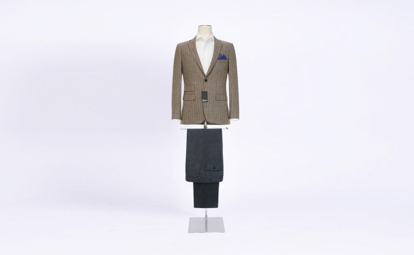 Creative Style Fratelli Tallia Di Delfino Brown Wool Suit Jacket with Charcoal Pants