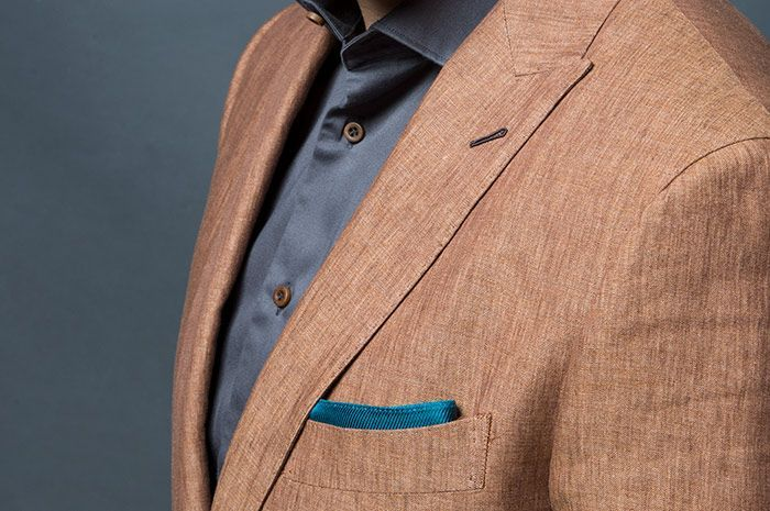 Brown Linen Suit Close Detail Jacket Lapel Milanese Boutonniere