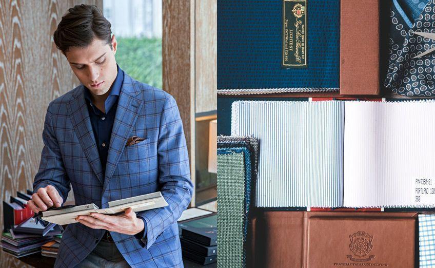 choosing fabrics suit tailoring delfino zegna thomas mason trunk show hotel bespoke