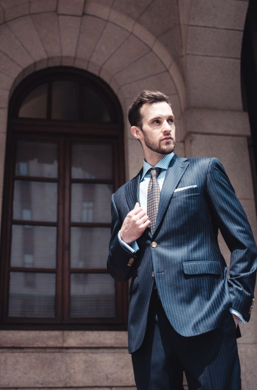 style inspiration mens lookbook navy pinstripe suit graph check shirt