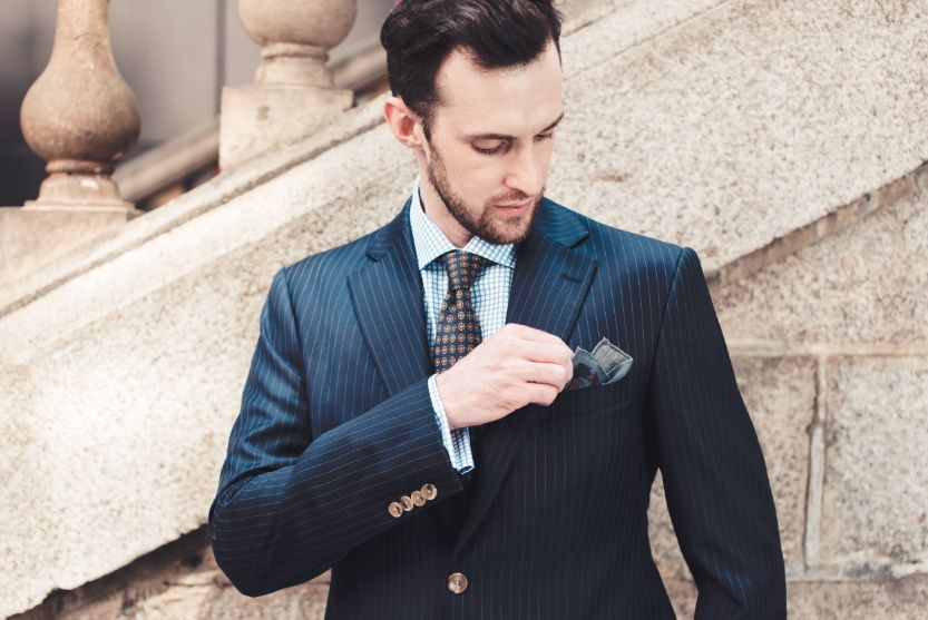 style inspiration mens lookbook navy pinstripe suit graph check shirt pocket square