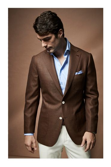 spring style photoshoot uros senszio bespoke brown hopsack suit jacket fashion