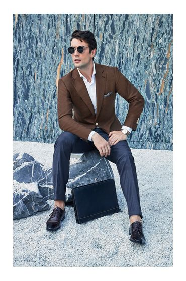 brown hopsack suit casual spring summer menswear sports jacket blazer