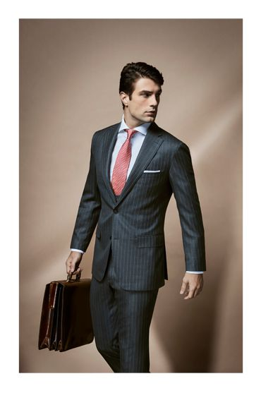 spring style photoshoot uros senszio bespoke grey pinstripe 3-piece suit jacket fashion