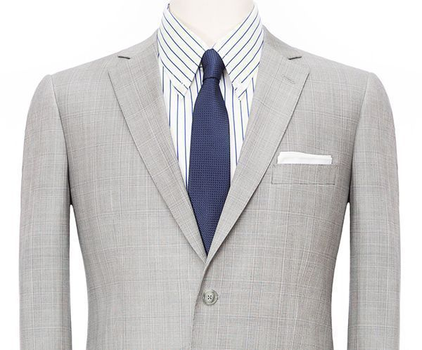 Suit Lapel Styles Notch Lapel Style Grey Overcheck Jacket Wool Linen