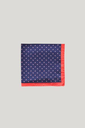 Navy with Red Paisley and Red Trim Silk Pocket Square